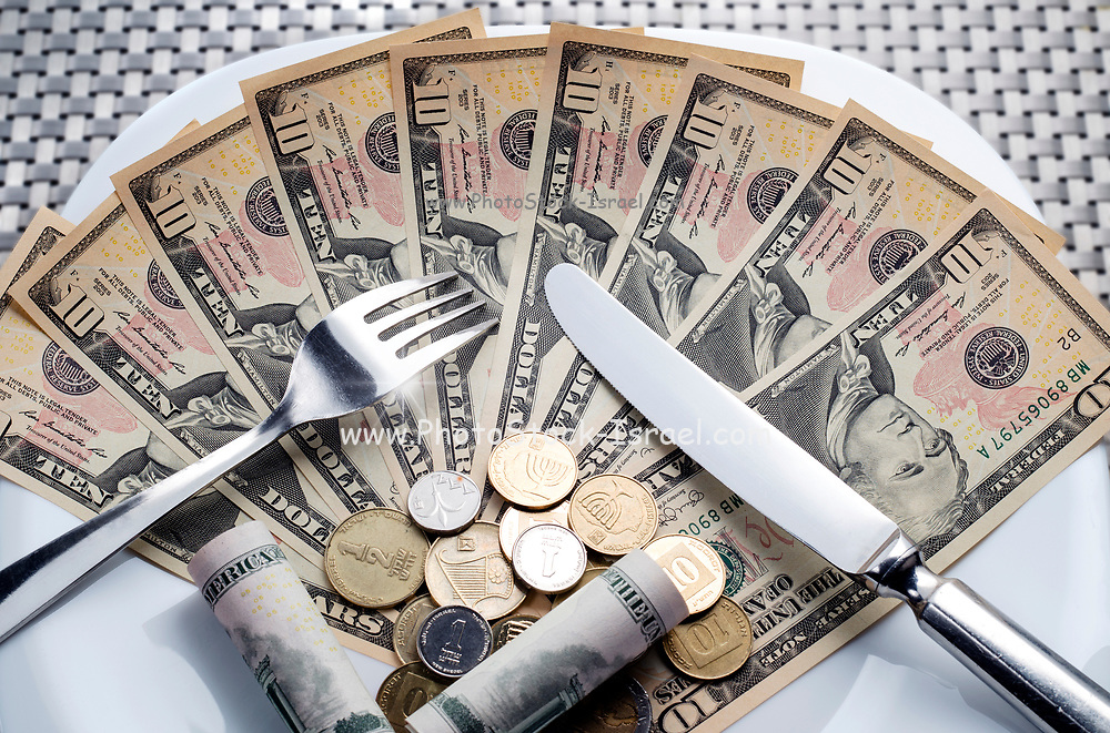 Cost of Living concept - fork knife and plat with Dollar banknotes