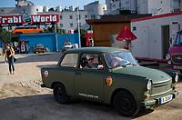 DEU, Deutschland, Germany, Berlin, 02.08.2011:<br />Touristen beginnen eine Trabi-Safari auf dem Gelände der Firma Trabi-World (East Car Tours), an der Zimmerstrasse Ecke Wilhemstrasse in Berlin-Mitte.