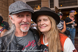 Pat Simmons of the Doobie Brothers with his wife Cris Sommer-Simmons before the Legends Ride at the Franklyn Hotel on Main Street in Deadwood during the annual Sturgis Black Hills Motorcycle Rally. Deadwood, SD, USA. Monday August 7, 2017.  Photography ©2017 Michael Lichter.