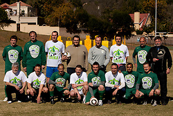Both teams during friendly match between Slovenian football journalists and officials of Slovenian football federation at  Hyde Park High School Stadium on June 16, 2010 in Johannesburg, South Africa.  (Photo by Vid Ponikvar / Sportida)