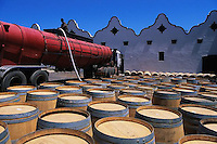 ca. March 1999, Vlaeberg, South Africa --- Container Truck and Wine Barrels --- Image by © Owen Franken/CORBIS
