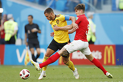 Eden Hazard of Belgium, John Stones of England during the 2018 FIFA World Cup Play-off for third place match between Belgium and England at the Saint Petersburg Stadium on June 26, 2018 in Saint Petersburg, Russia