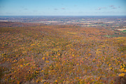 Aerial view of the Baraboo Hills, Sauk County, Wisconsin; specifically, Baxter Hollow State Natural area fills most of the frame.