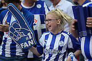 a Young Sheffield Wednesday fan during the 1st half. Skybet football league Championship play off final match, Hull city v Sheffield Wednesday at Wembley Stadium in London on Saturday 28th May 2016.<br /> pic by John Patrick Fletcher, Andrew Orchard sports photography.
