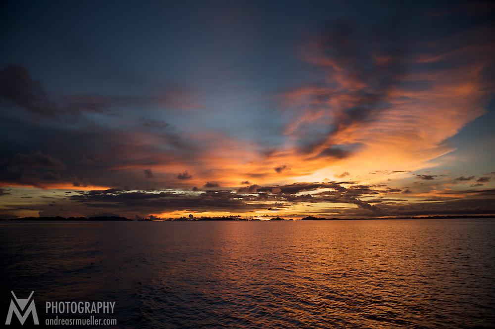 Beautiful sundown over the calm sea.