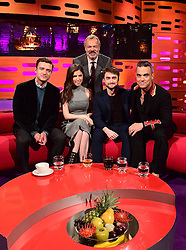 Host Graham Norton with guests (sitting left to right) Justin Timberlake, Anna Kendrick, Daniel Radcliffe and Robbie Williams during filming of The Graham Norton Show at the London Studios in London, to be aired on BBC1 on Friday evening.