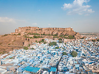 Aerial view of Mehrangarh fort from Sodagaran Mohalla in Jodhpur city of Rajasthan state of India.