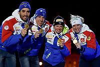 Skiskyting<br /> IBU World Championship<br /> VM 2016 Oslo<br /> Mix-stafett<br /> Foto: Gepa/Digitalsport<br /> NORWAY ONLY<br /> <br /> OSLO,NORWAY,03.MAR.16 - BIATHLON - IBU World Championships, relay 2x6km ladies and 2x7.5km men, mixed team, award ceremony. Image shows Martin Fourcade, Quentin Fillon Maillet, Marie Dorin Habert and Anais Bescond (FRA).