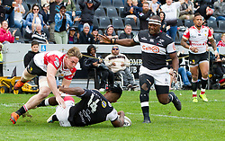 Durban. 201018. Sbu Nkosi of the Cell C Sharks during the Currie Cup, Semi Final match between Cell C Sharks and Xerox Golden Lions at Jonsson Kings Park in Durban, South Africa. Picture Leon Lestrade. African News Agency. ( ANA )