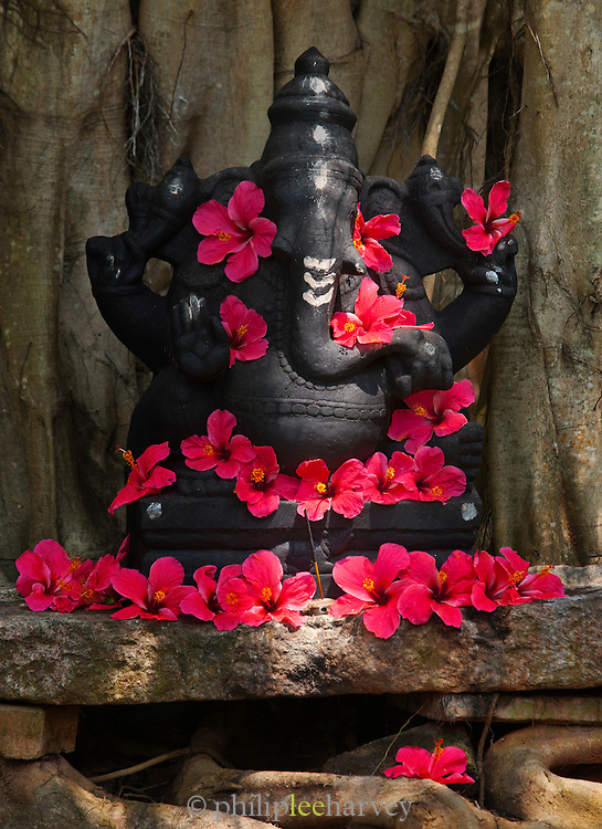A statue of Ganesha adorned with flowers near Trivandrum (Thiruvananthapuram), Kerala, India