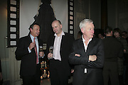 Hugh Radford, Tim Morris and David Slade, Westfield Launch and BFC celebrate Fashion Forward. Home House, Portman Sq. London. 30 January 2007.  -DO NOT ARCHIVE-© Copyright Photograph by Dafydd Jones. 248 Clapham Rd. London SW9 0PZ. Tel 0207 820 0771. www.dafjones.com.