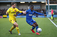 AFC Wimbledon defender Paul Osew (37) battles for possession during the EFL Sky Bet League 1 match between AFC Wimbledon and Fleetwood Town at the Cherry Red Records Stadium, Kingston, England on 8 February 2020.