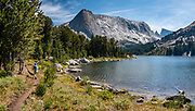 """Clear Lake, in Bridger Wilderness, Wind River Range, Bridger-Teton National Forest, Rocky Mountains, Wyoming, USA. Backpack to Big Sandy Lake Campground (11 miles round trip with 1000 feet gain). Day hike from Big Sandy Lake to Clear Lake and Deep Lake below East Temple Peak then loop back via Temple Lake, Miller Lake, and Rapid Lake (7.5 miles, 1060 ft gain) on the Continental Divide Trail. The Continental Divide follows the crest of the """"Winds"""". This image was stitched from multiple overlapping photos."""