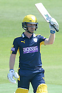 Hampshire wicketkeeper-batsman Adam Wheater brings up his half century during the Royal London One Day Cup match between Hampshire County Cricket Club and Essex County Cricket Club at the Ageas Bowl, Southampton, United Kingdom on 5 June 2016. Photo by David Vokes.