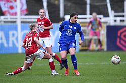 Flo Allen of Bristol City challenges Sam Kerr of Chelsea Women - Mandatory by-line: Ryan Hiscott/JMP - 14/02/2021 - FOOTBALL - Twerton Park - Bath, England - Bristol City Women v Chelsea Women - FA Womens Super League 1