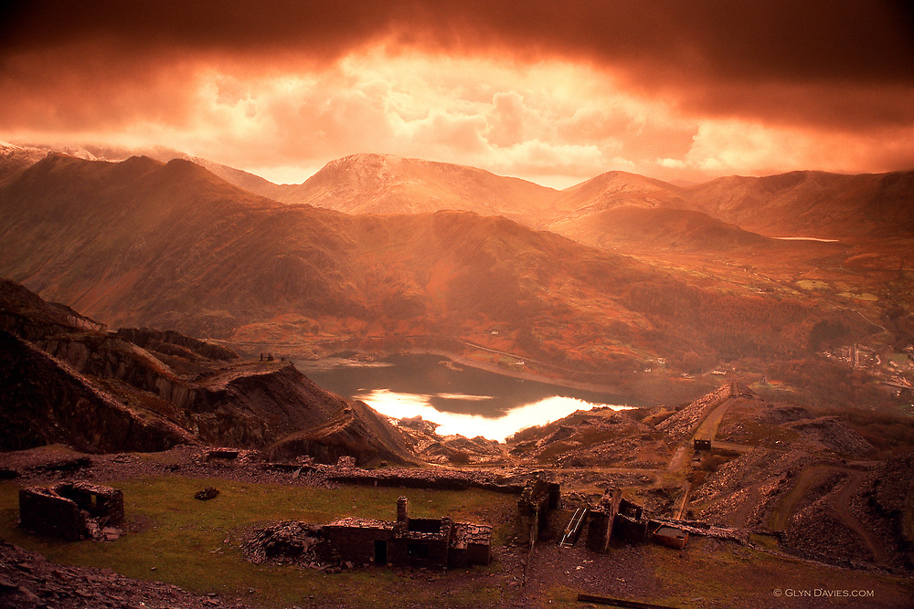 Available as A3 & A4 prints only<br /> <br /> Yr Wyddfa (Snowdon) in winter, from the Dinorwic Quarries, now a UNESCO World Heritage Site