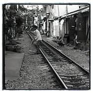Daily life of Vietnamese living along the railway of Hanoi, Vietnam, Southeast Asia