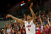 DALLAS, TX - JANUARY 15: Keith Frazier #4 of the SMU Mustangs reacts after shooting a three-pointer against the South Florida Bulls on January 15, 2014 at Moody Coliseum in Dallas, Texas.  (Photo by Cooper Neill/Getty Images) *** Local Caption *** Keith Frazier