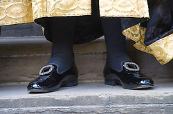 © London News Pictures. 19/05/15. London, UK. The Lord Chancellor Michael Gove's shoes as he arrives robed for his swearing in ceremony as the Lord Chancellor, Royal Courts of Justice, Central London. Photo credit: Laura Lean/LNP/05/15.