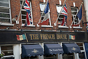 The French House pub in Soho, London, United Kingdom. Situated on Dean Street, the French House was one of the infamous hang-ous for artists in Soho.
