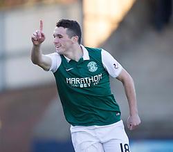 Hibernian's John McGinn cele scoring their first goal. <br /> Half time : Raith Rovers 0 v 1 Hibernian, Scottish Championship game played 24/10/2015 at Starks Park.