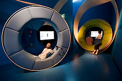 Multimedia information booths at Judisches or Jewish Museum in Kreuzberg central Berlin Germany