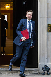 London, January 16 2018. Secretary of State for Culture, Media and Sport Matt Hancock leaves the UK cabinet meeting at Downing Street. © Paul Davey