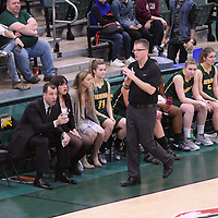Head Coach Dave Taylor of the Regina Cougars calls a timeout during the home game on November  5 at Centre for Kinesiology, Health and Sport. Credit: Arthur Ward/Arthur Images