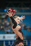 Alina Maksimenko during final at ball in the Pesaro World Cup at the Adriatic Arena in Pesaro, Italy on 28 April 2013.<br /> Alina is an Ukrainian individual rhythmic gymnast. She born on July 10, 1991 in Zaporizhia, Ukraine.