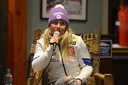 November 23, 2018 - Killington, Vermont, United States - TESSA WORLEY of France chats with the media before the Killington Cup ski races. (Credit Image: © Christopher Levy/ZUMA Wire)