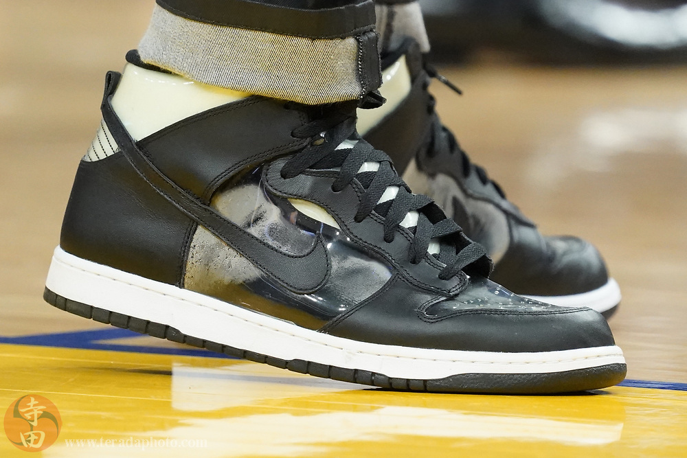 February 27, 2020; San Francisco, California, USA; Detail view of the Nike shoes worn by Los Angeles Lakers forward LeBron James (23) during the fourth quarter against the Golden State Warriors at Chase Center.