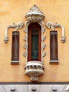 An art nouveau-style window in Granada, Spain