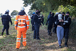 Aylesbury Vale, UK. 1st October, 2020. A National Eviction Team bailiff working on behalf of HS2 Ltd pushes an anti-HS2 activist from a field into ancient woodland at Jones' Hill Wood during evictions from a wildlife protection camp. Around 40 environmental activists and local residents, some of whom living in makeshift tree houses 60 feet above the ground, were present during the evictions at Jones' Hill Wood which had served as one of several protest camps set up along the route of the £106bn HS2 high-speed rail link in order to resist the controversial infrastructure project.