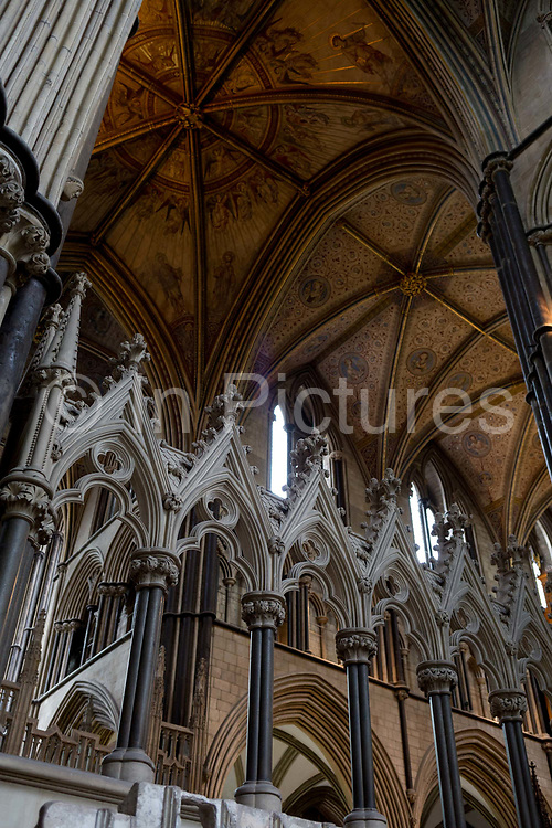 The medieval vaulted ceiling in Worcester Cathedral, on 23rd June 2019, in Worcester, England.