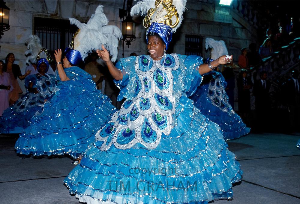 Dancers taking part in traditional Rio Carnival in Rio de Janeiro, Brazil