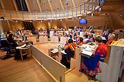Sami people at the Samediggi, the Sami Parliament at Karasjok, Finnmark region, northern Norway