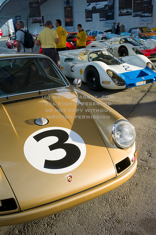 Image of Porsches at Weathertech Laguna Seca Raceway during Rennsport Reunion V in Monterey, California, America west coast by Randy Wells