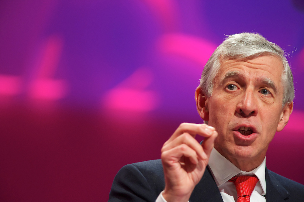 Jack Straw addresses delgates attending the Labour Party Conference in Manchester on 28 September 2010.