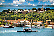 View of the Topkapi Palace on a hill above the Golden horn with the Sea of Mamara behind, Istanbul Turkey<br /> <br /> If you prefer to buy from our ALAMY PHOTO LIBRARY  Collection visit : https://www.alamy.com/portfolio/paul-williams-funkystock/topkapi-palace-istanbul.html<br /> <br /> Visit our TURKEY PHOTO COLLECTIONS for more photos to download or buy as wall art prints https://funkystock.photoshelter.com/gallery-collection/3f-Pictures-of-Turkey-Turkey-Photos-Images-Fotos/C0000U.hJWkZxAbg