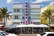 Colony Hotel art deco architecture on Ocean Drive, South Beach, Miami, Florida, United States of America