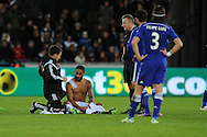 Swansea city capt Ashley Williams gets treatment for shoulder injury on the pitch.  Barclays Premier League match, Swansea city v Chelsea at the Liberty Stadium in Swansea, South Wales on Saturday 17th Jan 2015.<br /> pic by Andrew Orchard, Andrew Orchard sports photography.