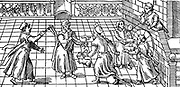 Children's games in the 16th century: from left to right are shown  rattle, windmill, hobby-horse, and boy blowing soap bubbles using a reed. Woodcut .