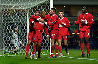 Photo. Jed Wee.<br /> Blackburn Rovers v Liverpool, Carling Cup, Ewood Park, Blackburn. 29/10/03.<br /> Liverpool's celebrate Harry Kewell's goal.