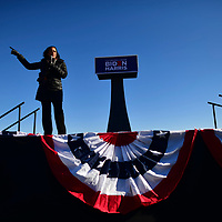 BETHLEHEM, PA - NOVEMBER 02:   Sen. Kamala Harris (D-CA) speaks at a drive-in rally on the eve of the general election on November 2, 2020 in Bethlehem, Pennsylvania. Democratic presidential nominee Joe Biden, who is originally from Scranton, Pennsylvania, remains ahead of President Donald Trump by about six points, according to a recent polling average.  With the election tomorrow, Trump held four rallies across Pennsylvania over the weekend, as he vies to recapture the Keystone State's vital 20 electoral votes. In 2016, he carried Pennsylvania by only 44,292 votes out of more than 6 million cast, less than a 1 percent differential, becoming the first Republican to claim victory here since 1988. (Photo by Mark Makela/Getty Images)