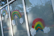 Local response to Coronavirus is felt on a street by street level as children put up rainbow paintings in the windows of their homes on 22nd April 2020 in Birmingham, England, United Kingdom. Coronavirus or Covid-19 is a new respiratory illness that has not previously been seen in humans. While much or Europe has been placed into lockdown, the UK government has put in place more stringent rules as part of their long term strategy, and in particular social distancing.