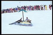 Peter Carew and Jerome Fack. Dangerous Sports Club ski race. St. Moritz. 1984.<br />© Copyright Photograph by Dafydd Jones<br />66 Stockwell Park Rd. London SW9 0DA<br />Tel 0171 733 0108