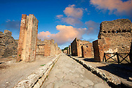Cobbled street of Pompeii archaeological site. .<br /> <br /> If you prefer to buy from our ALAMY PHOTO LIBRARY  Collection visit : https://www.alamy.com/portfolio/paul-williams-funkystock/pompeii.html<br /> Visit our CLASSICAL WORLD HISTORIC SITES PHOTO COLLECTIONS for more photos to buy as buy as wall art prints https://funkystock.photoshelter.com/gallery-collection/Classical-Era-Historic-Sites-Archaeological-Sites-Pictures-Images/C0000g4bSGiDL9rw