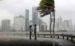 The winds and sea are whipped up off of the Rickenbacker Causeway in Miami as Hurricane Irma approaches on Saturday, September 9, 2017. Photo by Mike Stocker/Sun Sentinel/TNS/ABACAPRESS.COM