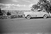 Octavia Hirschman driving Chevrolet Fleetmaster, Grand Canyon National Park, Arizona.