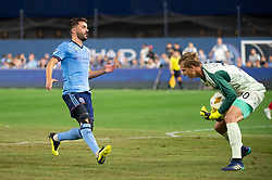 September 26, 2018 - Bronx, New York, US - Chicago Fire goalkeeper STEFAN CLEVELAND (30) picks up a ball infant of New York City FC forward DAVID VILLA (7) during a regular season match at Yankee Stadium in Bronx, New York.  New York City FC defeats Chicago Fire 2 to 0 (Credit Image: © Mark Smith/ZUMA Wire)